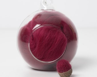 Merino Felting Wool- Wool Roving-Wool Tops -Colour Red 01 -10grams