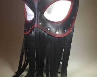Fringed Black/Red Ombre Leather Mask