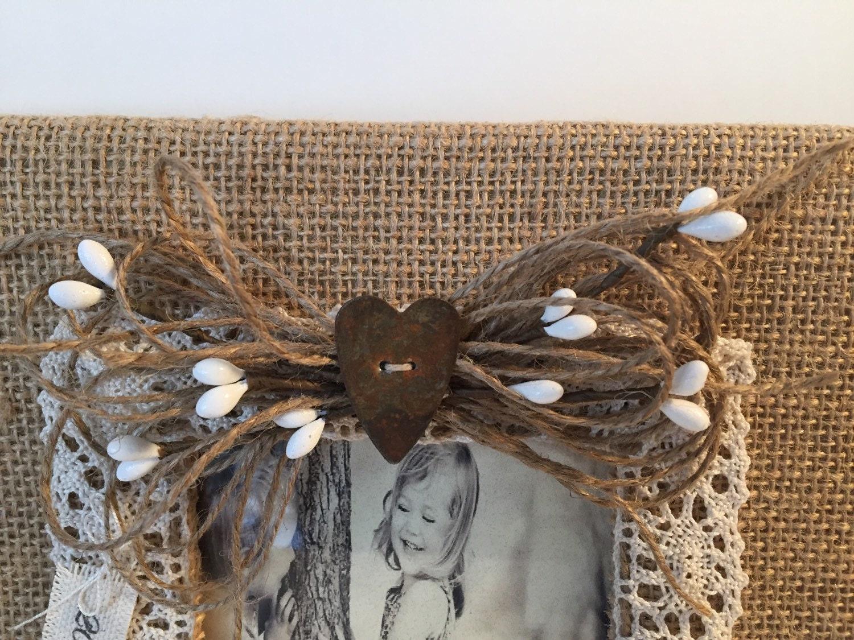 Marco de imagen personalizada de la arpillera, arpillera boda marco ...