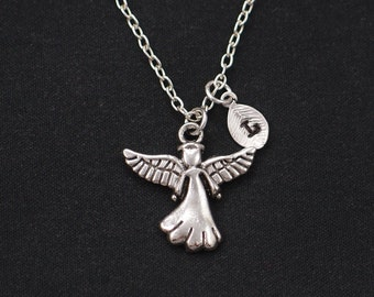 angel necklace, sterling silver filled, initial necklace, silver guardian angel charm, angel wings jewelry, little girl gift, communion gift