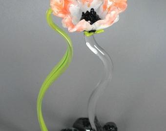 Salmon Poppy Flower Sculpture - Lampwork Art Glass - Nature Inspired Home Decor
