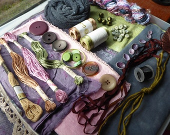 Hope jacare -  Creativity pack  - hand dyed threads, fabric and other goodies - CP45