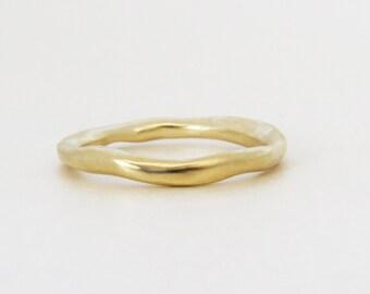 Gold Wedding Ring, Yellow Gold Wedding Band, Unique Wedding Band, 14k Yellow Gold Ring, Sculptured Ring, Matte Wedding Ring, Ready to ship