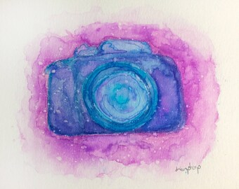 Mystical Space DSLR Camera - Photography Watercolor Painting