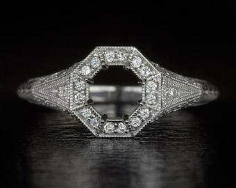Vintage Antique Halo Engraved Filigree & Milgrain Art Deco Inspired 14K White Gold Engagement Setting 6 mm Semi-mount 6872