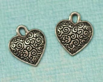 SALE 2 Pewter Heart Charms 1723