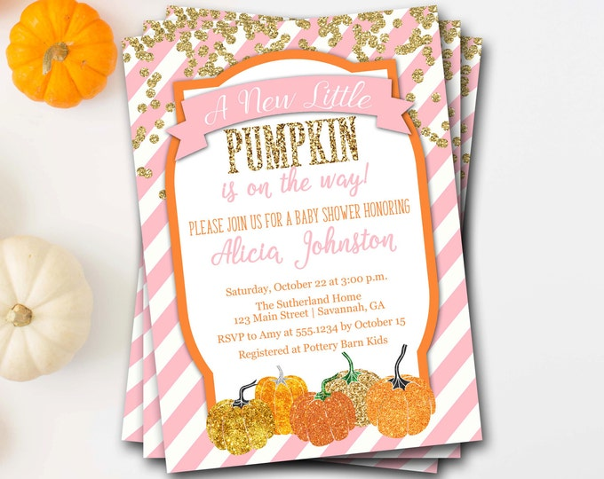 Pumpkin Baby Shower Invitation, Fall Baby Shower Invitation, Glitter Baby Shower, Halloween Baby Shower, Printable Invitation,DIY Printable