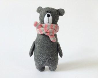 Felt Grey Bear In A Striped Scarf, Felted Miniature Animals, Eco Friendly Felt Animals, Teddy Bear Toy, Miniature Bear Woodland Plushie