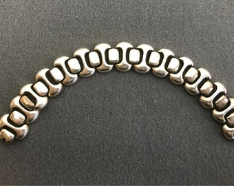 Heavy Sterling Silver Link Bracelet-Mexico. Free shipping.