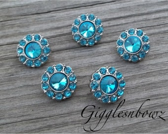 Rhinestone Button Sale- 5 Pc Tiny Acrylic Rhinestone Buttons- Flower Centers- Headband Supplies- DIY Supplies- PETITE Size-Turquoise 15mm