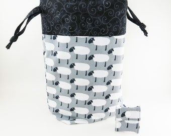 """Knitting Project Bag - New!  """"White Sheep on Gray Knit Fabric"""" Large Drawstring Project Bag (C.5)"""