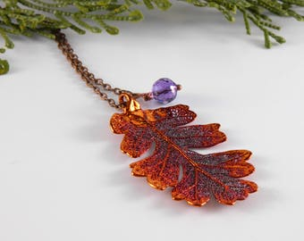 Copper Lacy Oak Leaf Pendant on 30 inch Long Chain with Ametrine, Necklace for Rangers Apprentice fan