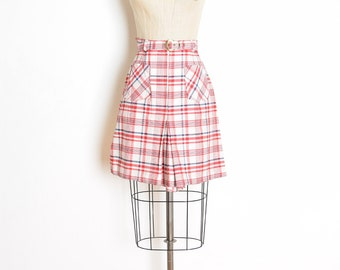 vintage 70s shorts, 70s culotte shorts, 70s skort, red white blue, plaid shorts, high waisted shorts, 70s clothing, scooter skirt, S small