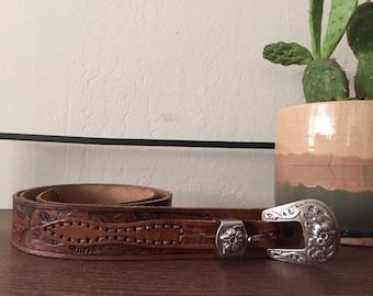 Vintage Flower Engraved Leather Belt
