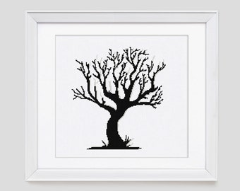 Tree cross stitch pattern, tree counted cross stitch pattern, tree blackwork cross stitch pattern, tree cross stitch pdf pattern