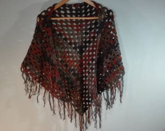 triangle crochet shawl, warm winter scarf, crochet wrap