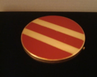Vintage enamel and gold tone compact