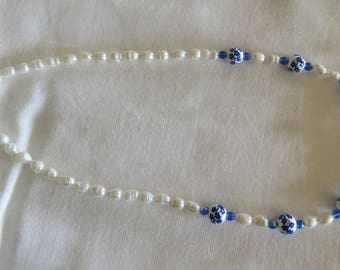 Blue ceramic bead necklace with fresh water pearls