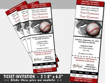 Baseball Wedding Invitation Set Sports Ticket Invitations
