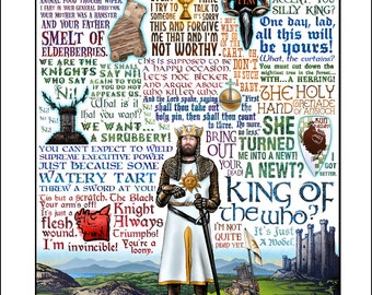 Monty python and the holy grail inspired t shirt keep king of the who monty python the holy grail tribute signed print bookmarktalkfo Gallery