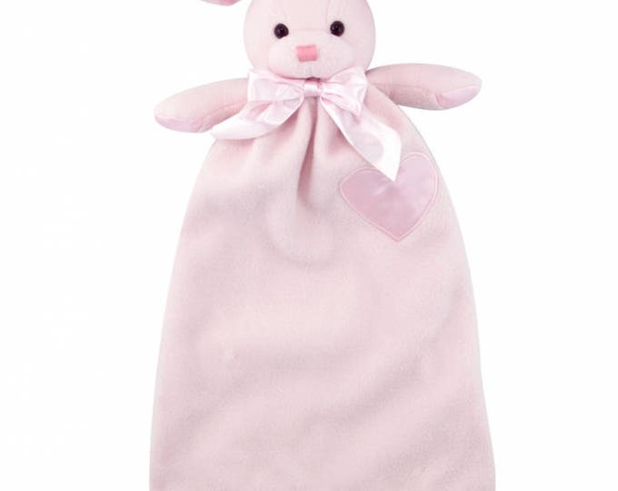 Personalized Pink Bunny Minky Security Blanket, Embroidered Baby Bunny Keepsake, Embroidered Woobie