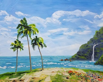 Beach decor, painting on canvas, oil painting, seascape, nature painting, painting original, ocean painting, tropical decor, beach, blue