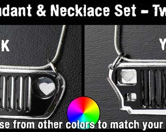 Jeep Grill Pendant and Necklace Set - You choose colors - Custom made to order