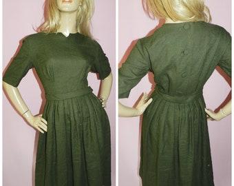 Vintage 50s Moss Green Button Back Secretary dress 10 S 1950s Full skirt Mid century Pin up Box pleats Mad Men