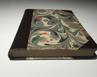 Antique Book - Vintage - De Sarrede Klager Ikke - Brown Leather Bound - Swirl Pattern - Green - Orange - Grey -  Free Shipping - Thin - 1945