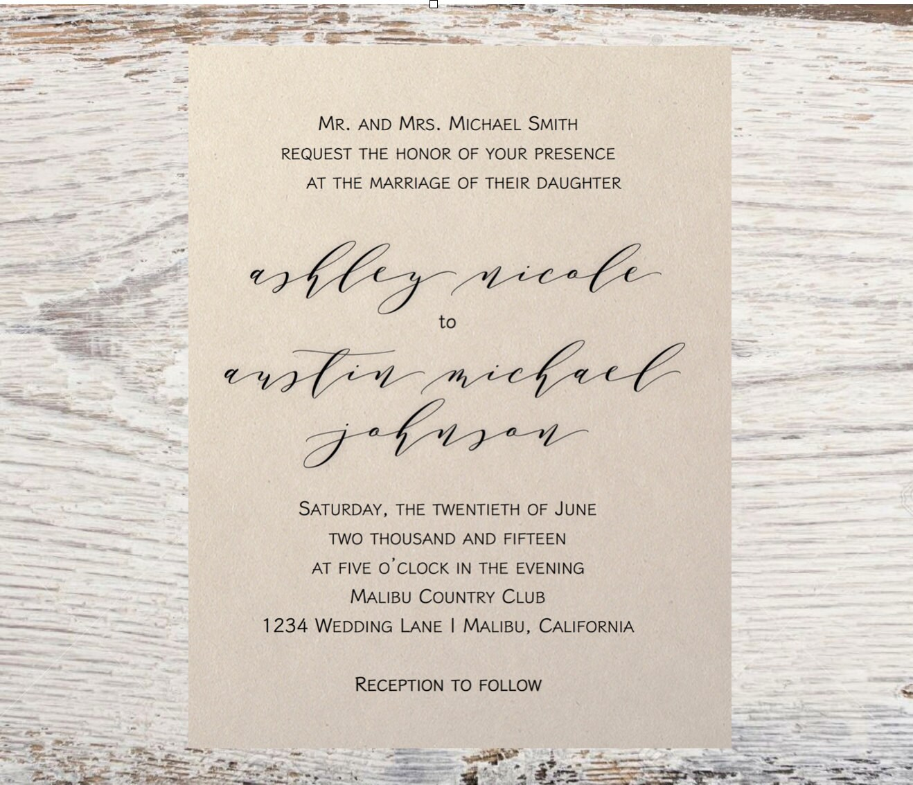Wedding Invitation - Simple Wedding Invitation - Simple & Timeless ...