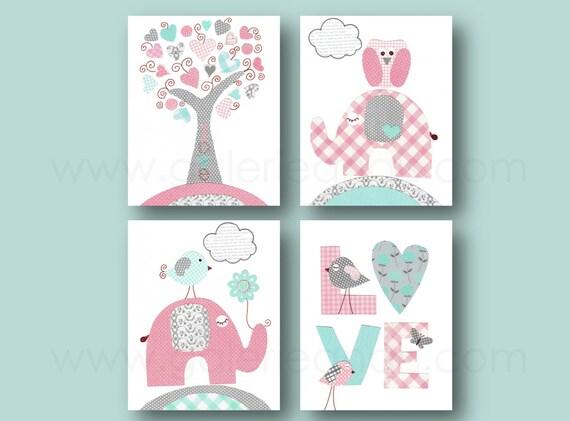 Kinderzimmer Türkis rosa türkis und grau kunstdruck kinderzimmer kinderzimmer