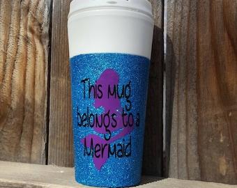 Mermaid mug, mermaid gift,  Glitter mug, travel mug glitter, glitter travel mug, travel mug, custom mug, coffee mug, travel mug with lid