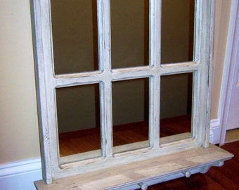 "Rustic Farmhouse Mirror 26"" x 28 3/4"" Rustic Mirror Faux Mirrored Window"