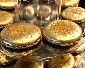 French Macarons - Salted Caramel Black and Gold Macarons