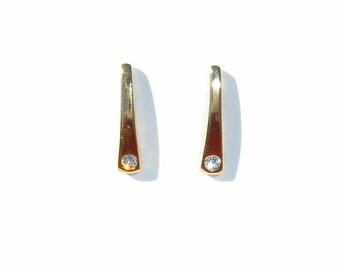80s Diamond Simulant in Flush Setting and Graduated Rectangle Shape Gold Tone Pierced Earrings