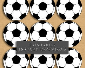 """2.5"""" Soccer Ball Printable Cupcake Toppers Sports Theme Birthday Party DIY Printable INSTANT DOWNLOAD"""