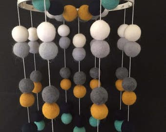 Felt Baby Mobile - Baby Crib Mobile - Baby Mobile for Crib - Baby Cot Mobile - Nursery Decor - Double Ball Pattern