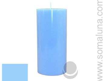 3 x 6.5 Light Blue Classic Hand-poured Unscented Pillar Candles Solid Color