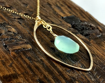 Hammered gold fill leaf shaped pendant chain necklace  with with aqua chalcedony gemstone drop