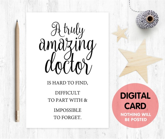 doctor card printable doctor retirement card instant download doctor appreciation thanks card a truly amazing doctor is hard to find