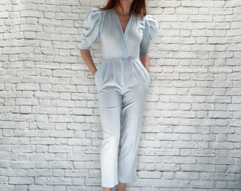 Vintage 80s Avant Garde Jumpsuit Pale Blue Puff Sleeve Cropped XS Pockets Surplice