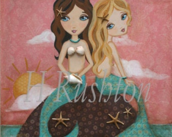 Mermaid Art- Canvas Wall Art - Canvas Art -  Children's Decor- Mermaid Decor- Any Size on Canvas You Pick