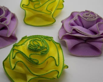 Single Ribbon Yellow and Green or Purple and Gray Lapel Flower