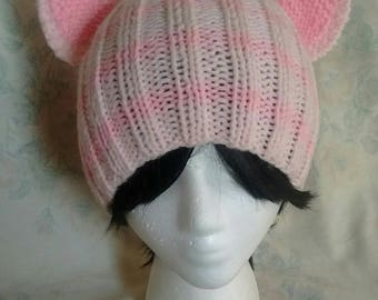 Powder Pink Striped Cat Ear Hat