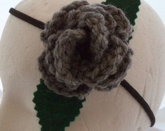 Crocheted Rose Headband - Gray (SWG-HH-HWSL02)