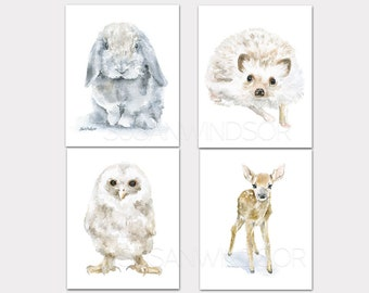 Woodland Watercolor Animal Art Prints Set of 4 Nursery Childrens Room Deer Lop Rabbit Hedgehog Owl PORTRAIT-Vertical Orientation