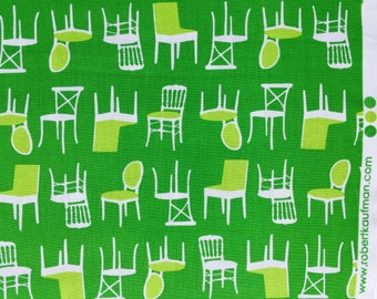 Perfectly Perched chairs green Laurie Wisbrun Robert Kaufman fabric FQ or more