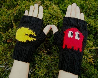 Retro Arcade Inspired Fingerless Gloves - Handknit Retro Gaming Gloves with Red Ghost - Black Gaming Cosplay Gloves