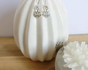 Earrings silver 925, earrings silver, earrings lotus, lotus earrings, yoga earrings