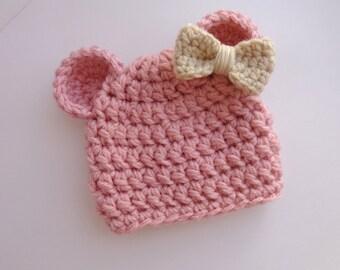 Newborn Teddy Bear Hat, Pink, Girl, Photo Prop